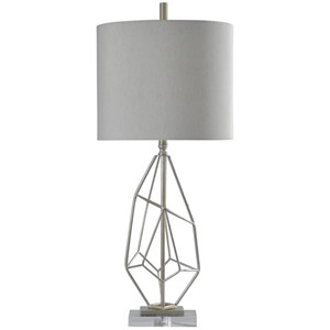 Stylecraft Lamps Hand Carved Table Lamp With Natural Linen