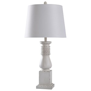 Old White Distressed Lamp