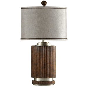 Ribbed Wood Finish Table Lamp