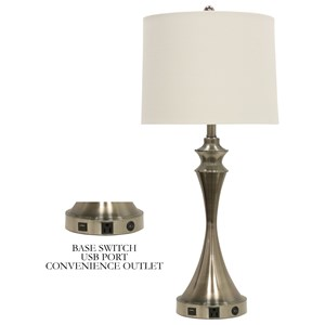 Table Lamp w/ Brushed Steel Base & USB