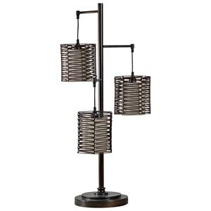 Metal And Rattan Contemporary Table Lamp