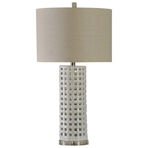 31 Inch Ceramic Basket Weave Lamp