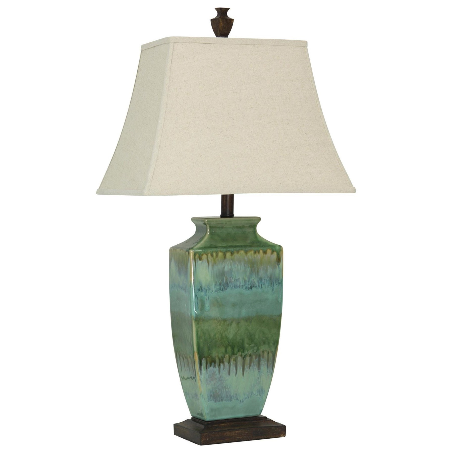 Lamp with Green Blue Glaze