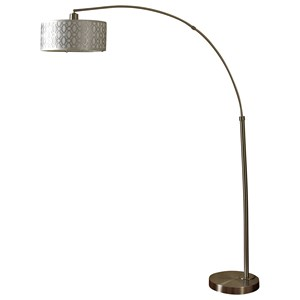 StyleCraft Lamps Brushed Steel One Arm Arch Floor Lamp