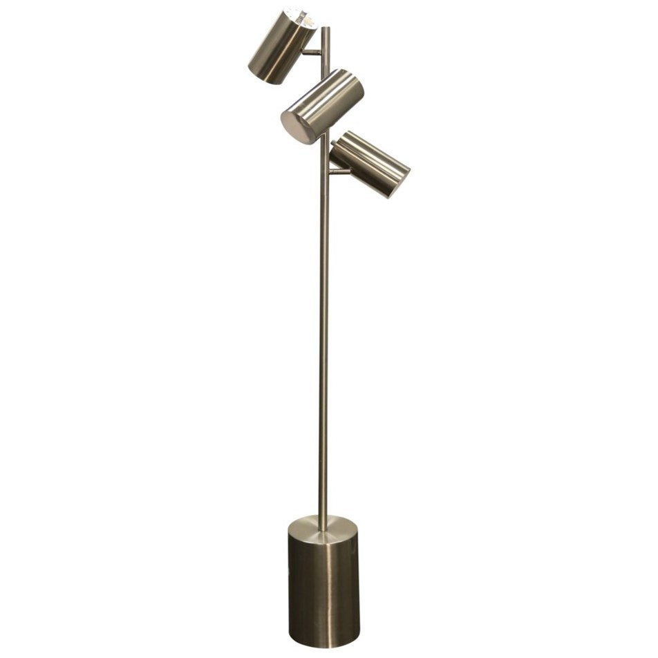 StyleCraft Lamps Brushed Steel 3-Head Floor Lamp - Item Number: L72948