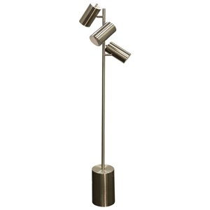 StyleCraft Lamps Brushed Steel 3-Head Floor Lamp