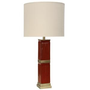StyleCraft Lamps Red Ceramic Column Table Lamp