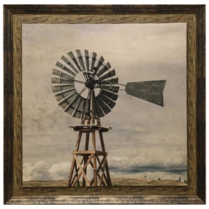 Oklahoma Windmill Print Textured and Framed