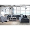 Stylus 1414  Two Piece Sectional Sofa with Scattered Back Pillows - Ottoman Component Sold Separately
