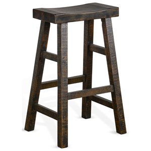 "30""H Saddle Seat Stool, Wood Seat"