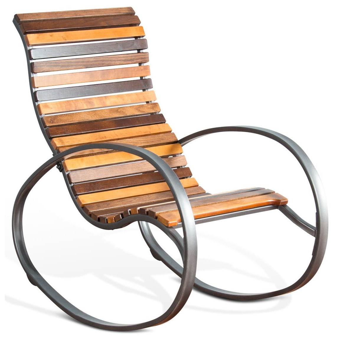 Metal Rocker with Wood Seat and Back
