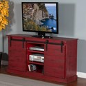 "Sunny Designs 3577 65"" TV Console w/ Barn Doors - Item Number: 3577BR"