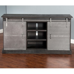 "Sunny Designs 3577 65"" TV Console w/ Metal Barn Doors"