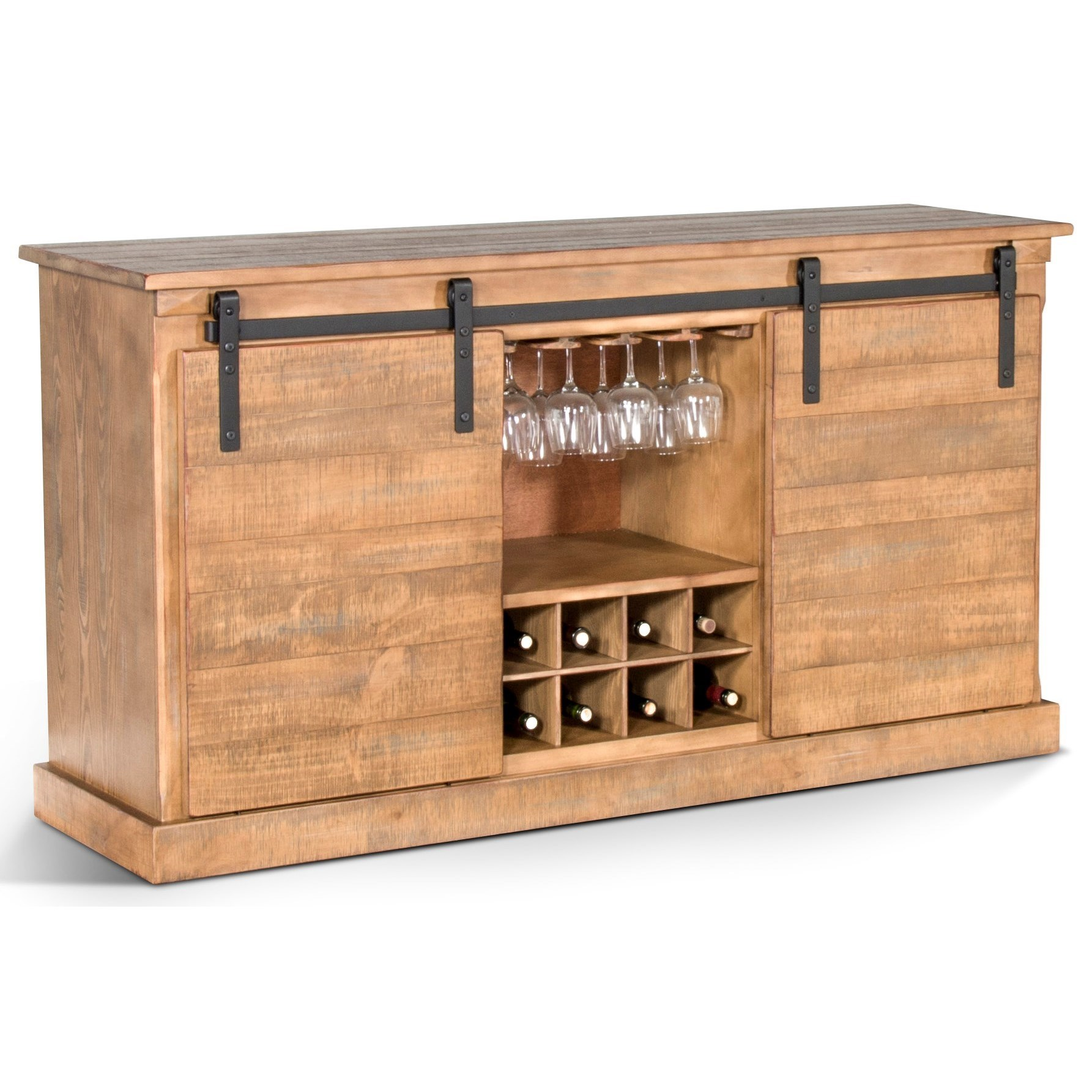 "65"" TV Stand w/ Wine Rack & Barn Door"