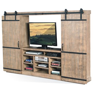 Sunny Designs 3579 Barn Door Entertainment Wall