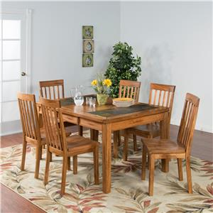 Sunny Designs Sedona 7-Pc Extension Table w/Slate & Chair Set