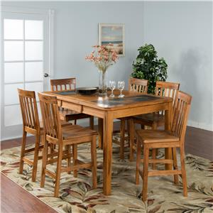 Sunny Designs Sedona 7PC Counter Ht Slate Top Dinette