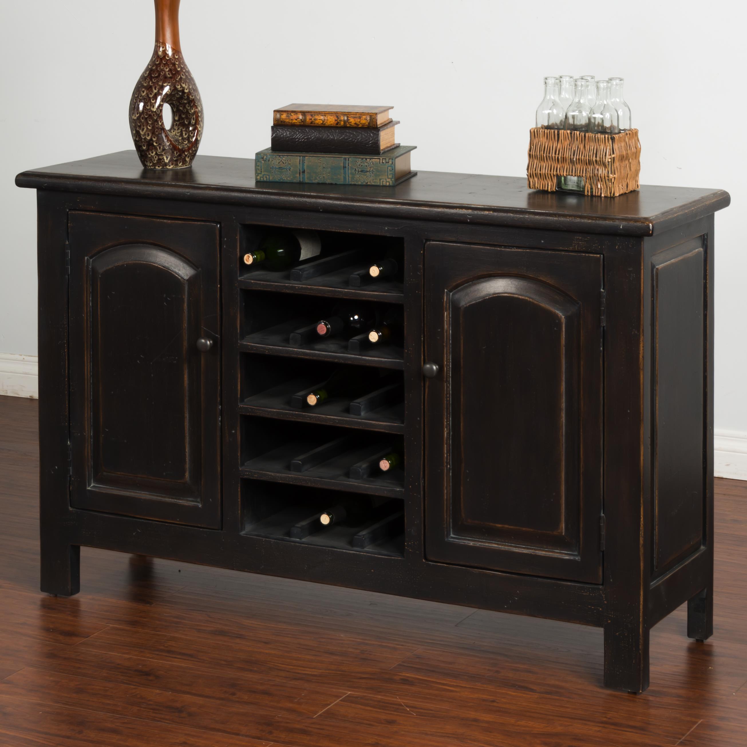 Sunny Designs Black Sideboard w/ Wine Storage - Item Number: 2271B-SB