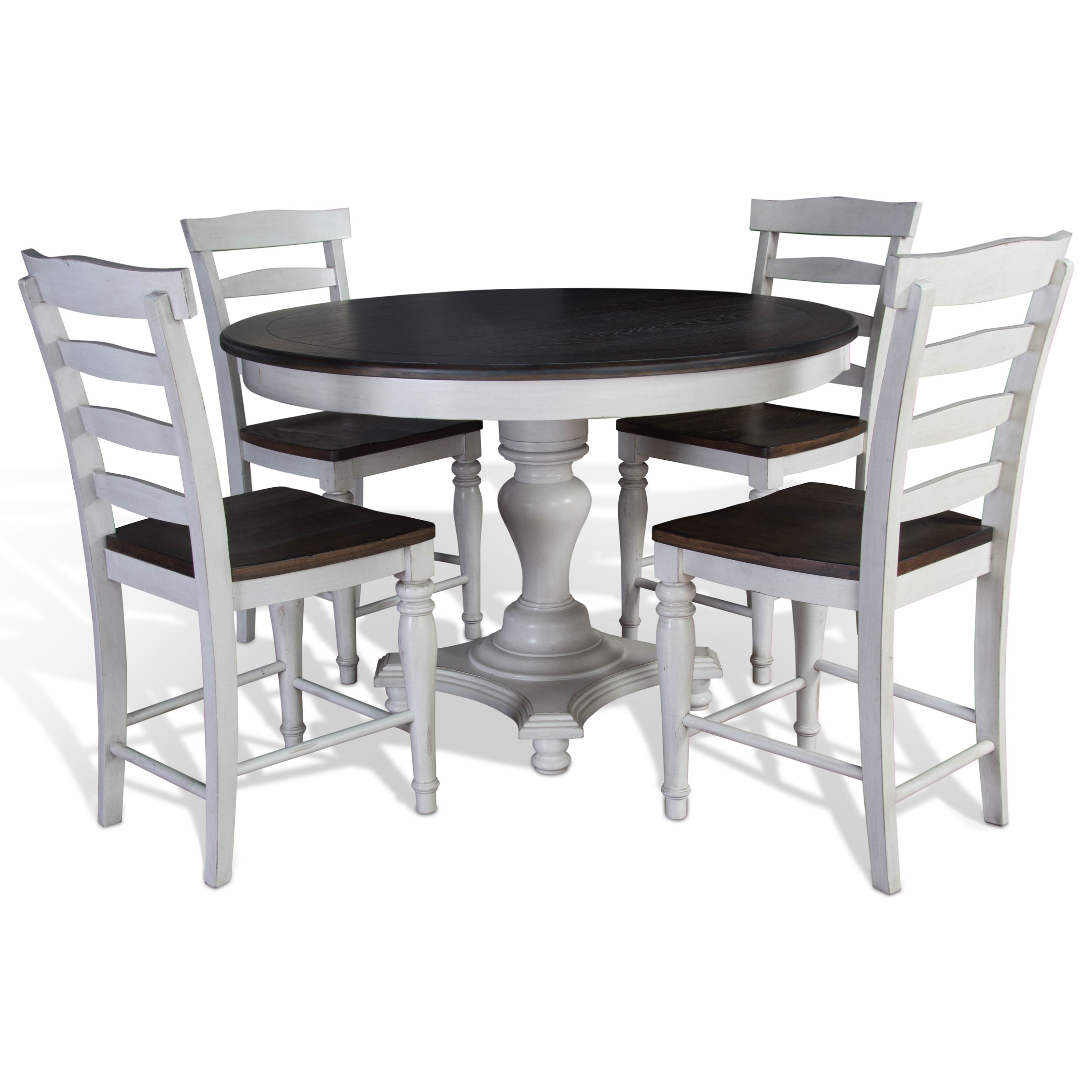 Picture of: Sunny Designs Bourbon County 5 Piece Round Table Chair Set Becker Furniture Dining 5 Piece Sets