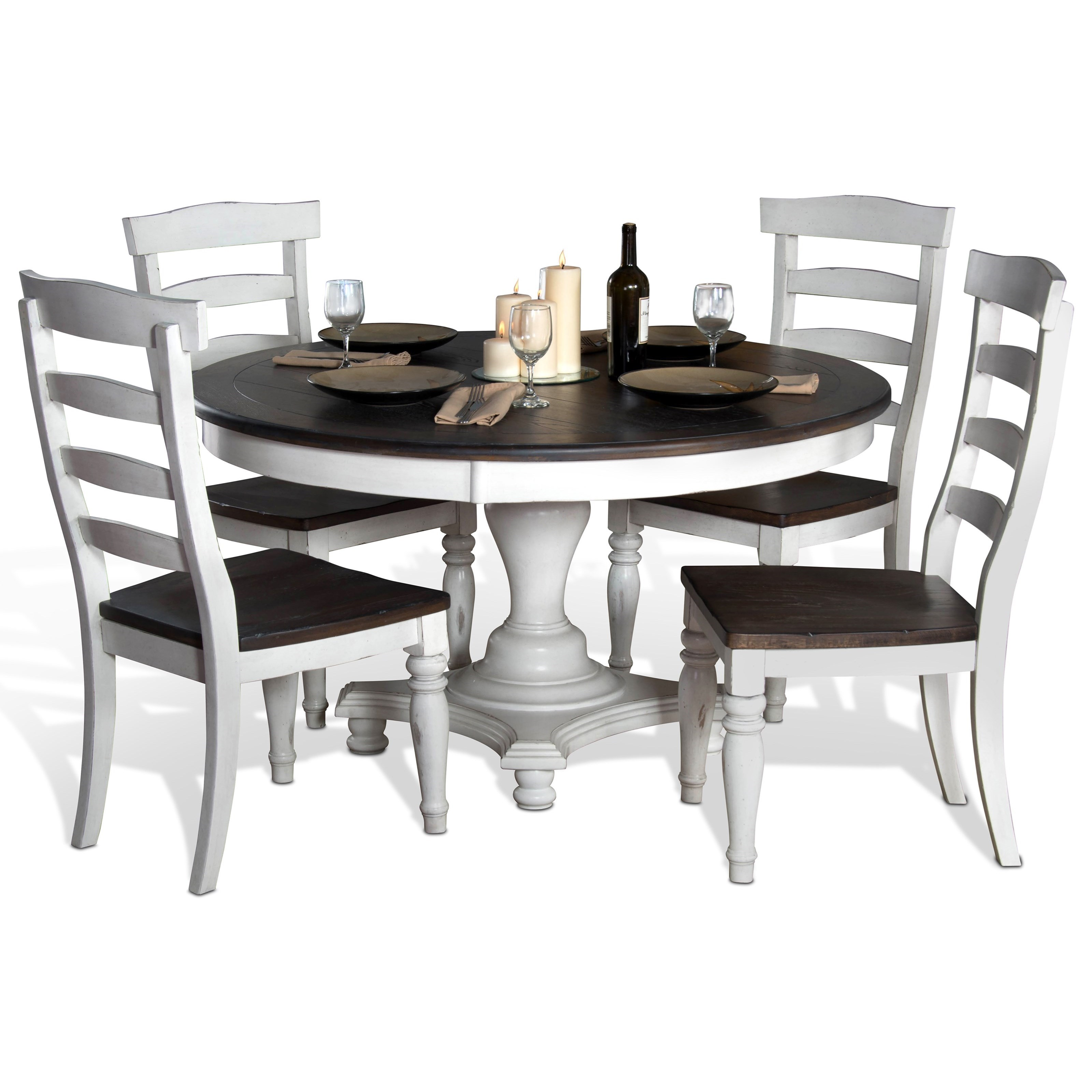 Picture of: Sunny Designs Bourbon County 5 Piece Round Table Chair Set Powell S Furniture And Mattress Dining 5 Piece Sets