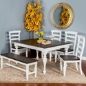 Sunny Designs Bourbon County Six Piece Table Set with Bench - Item Number: 1015FC+4x1432FC-W+1642FC
