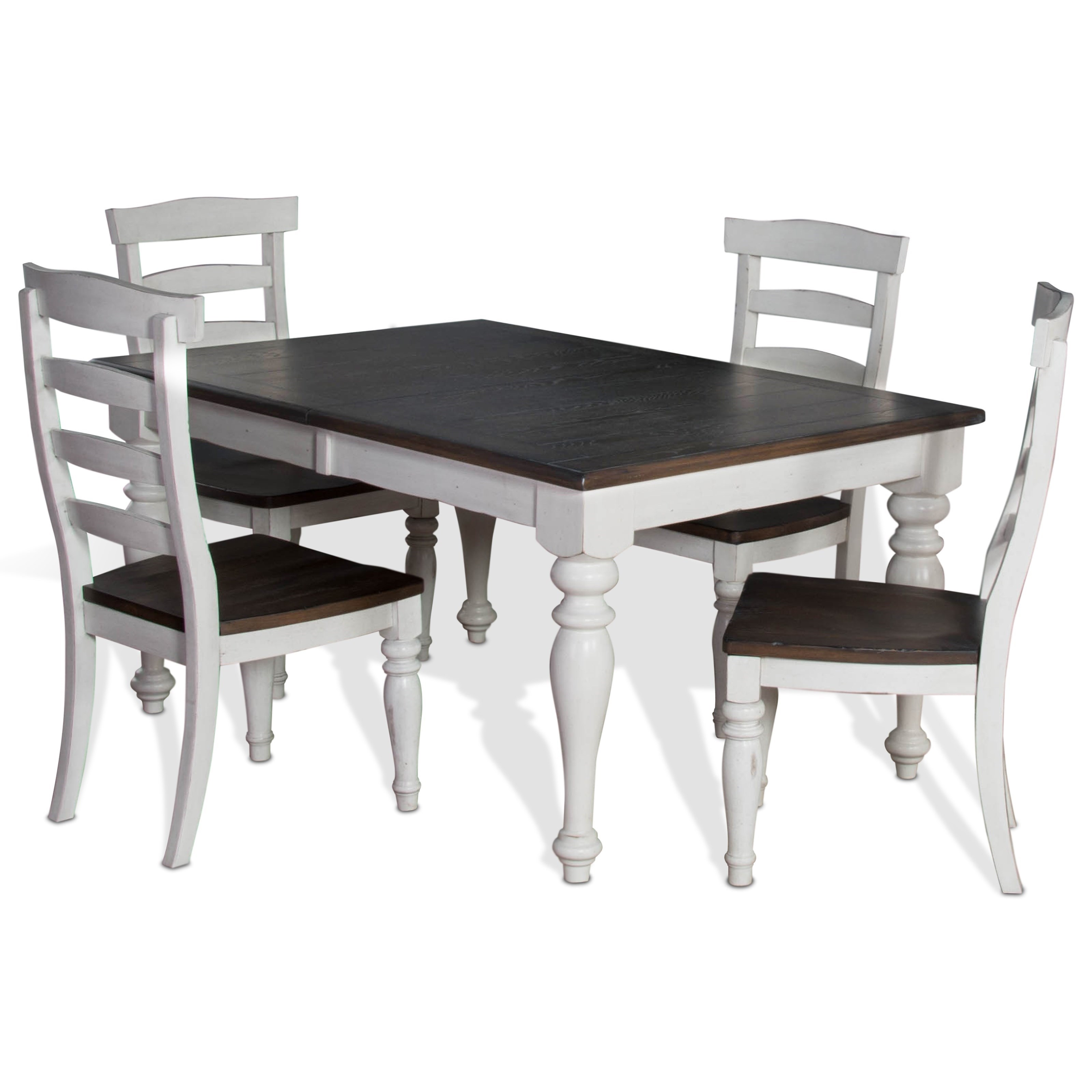 Sunny Designs Bourbon Country 5-Piece Extension Dining Table Set - Item Number: 1015FC+4x1432FC-W