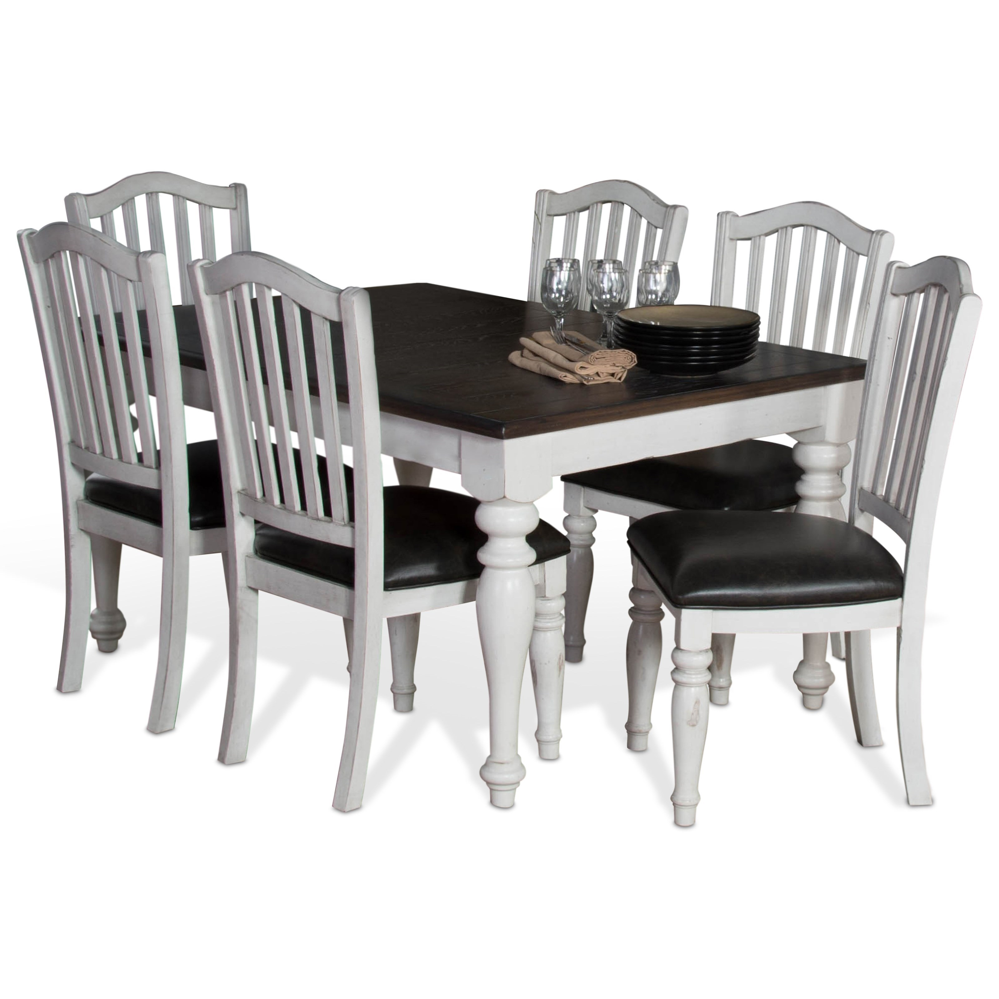 Sunny Designs Bourbon Country 7-Piece Extension Dining Table Set - Item Number: 1015FC+6x1431FC-C