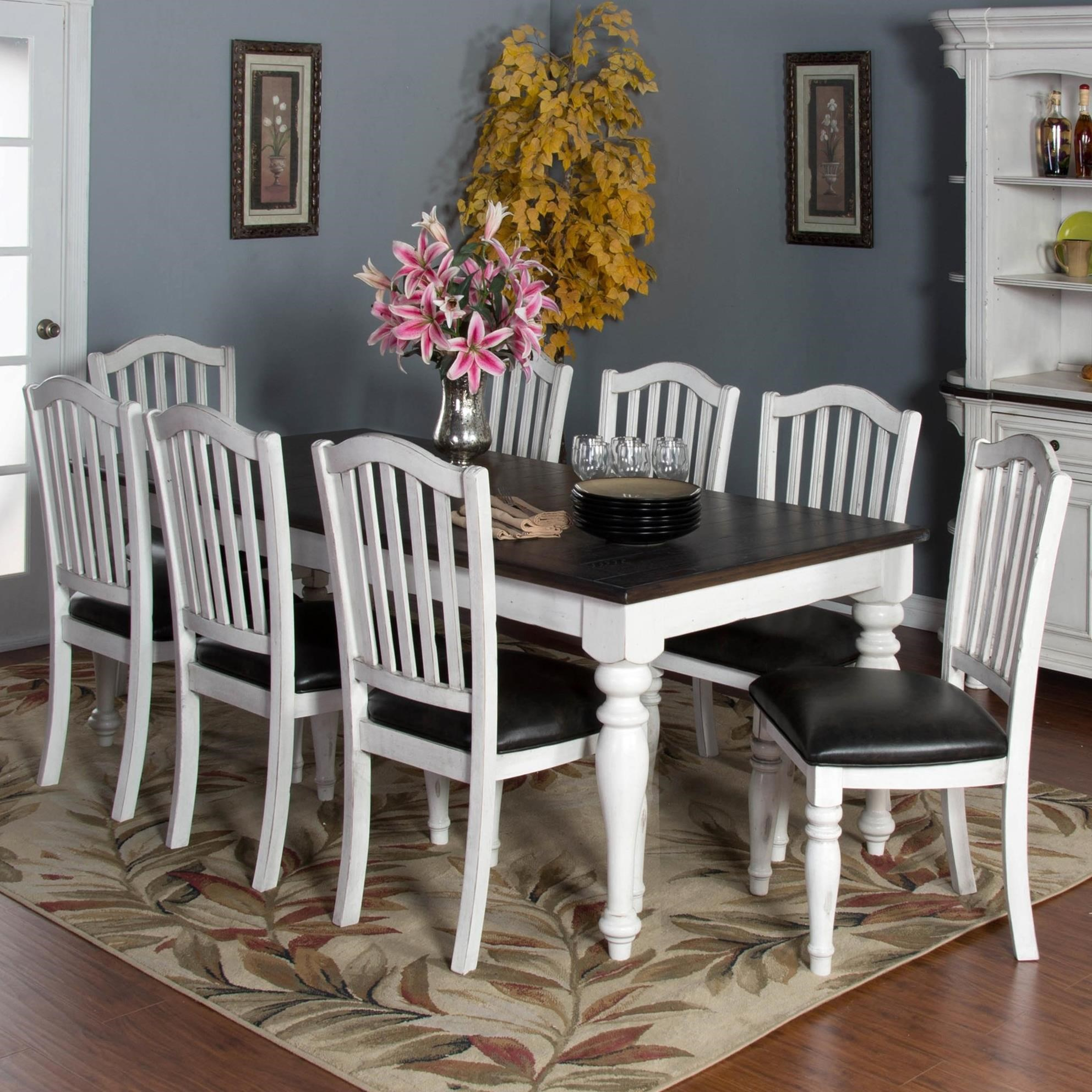 Lovely Sunny Designs Bourbon County 9 Piece Extension Dining Table Set   Item  Number: 1015FC