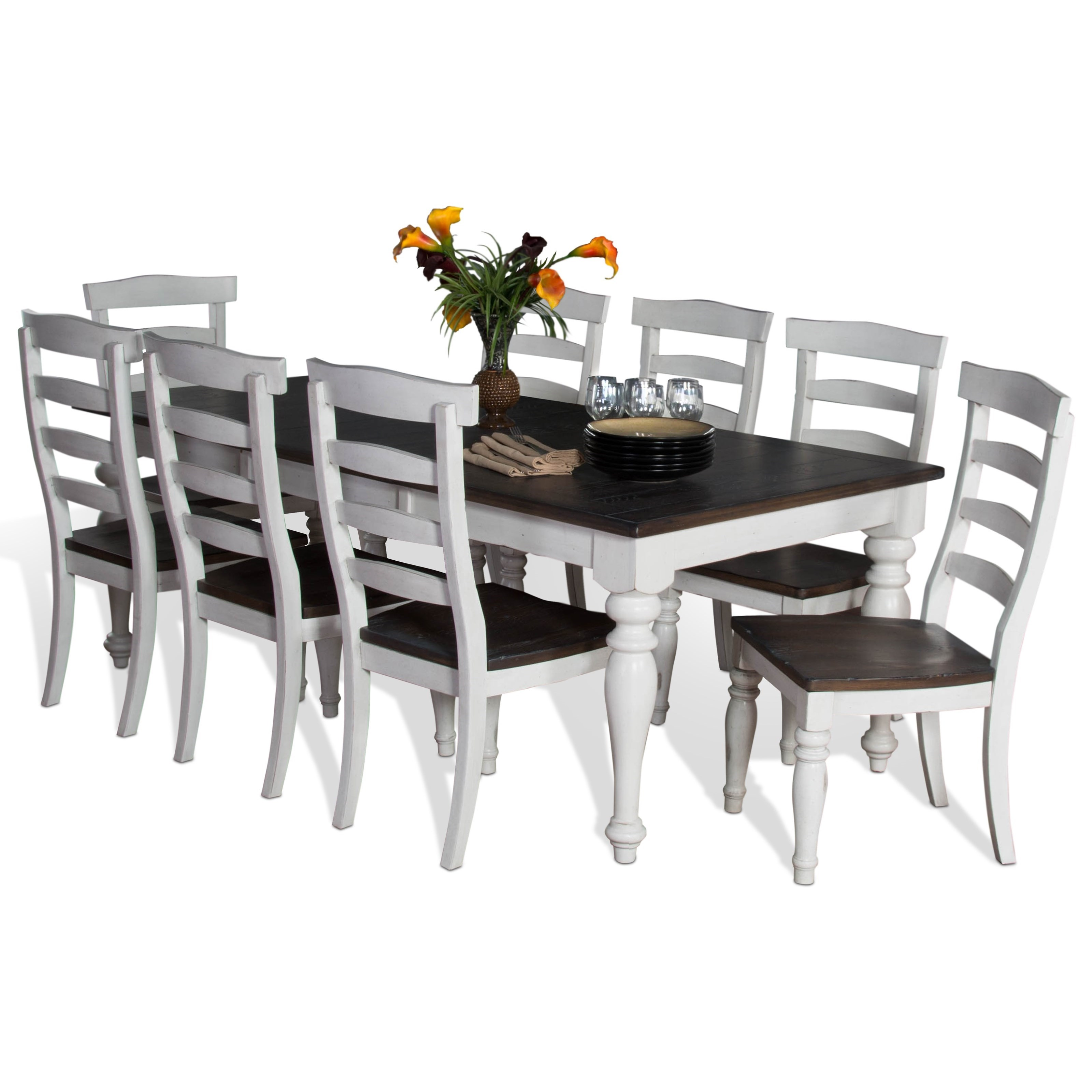 sunny designs bourbon county 9 piece extension dining table set   item number  1015fc sunny designs bourbon county 9 piece extension dining table set      rh   darvin com