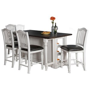 VFM Signature Bourbon County Five Piece Kitchen Island & Chair Set