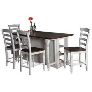 VFM Signature Bourbon County Five Piece Kitchen Island & Chair Set