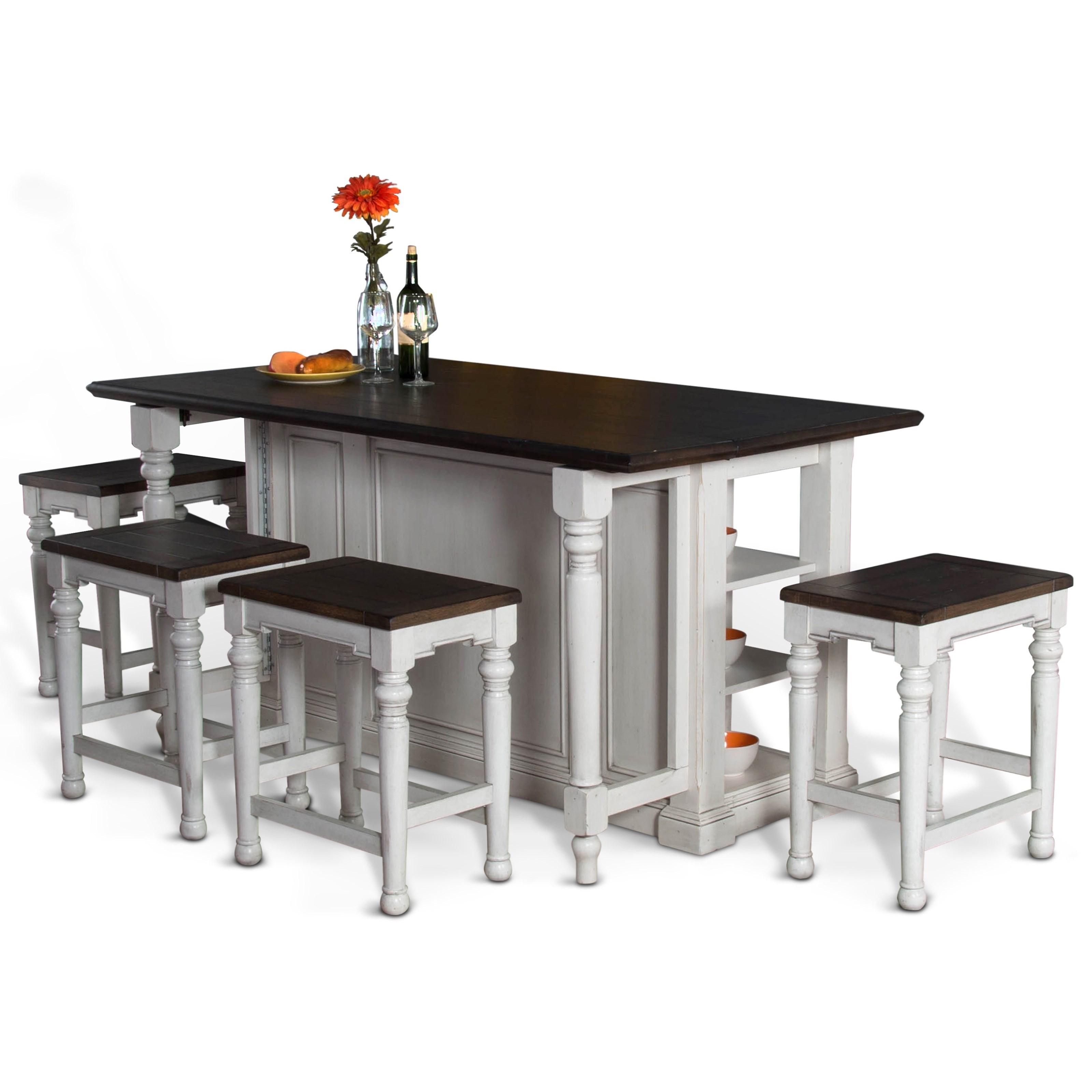 Kitchen Island Furniture Piece: Sunny Designs Bourbon County 5 Piece Kitchen Island Set