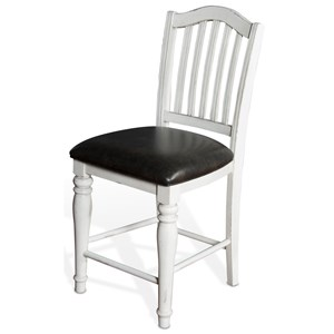 VFM Signature Bourbon County 24?H Slatback Barstool w/ Cushion Seat
