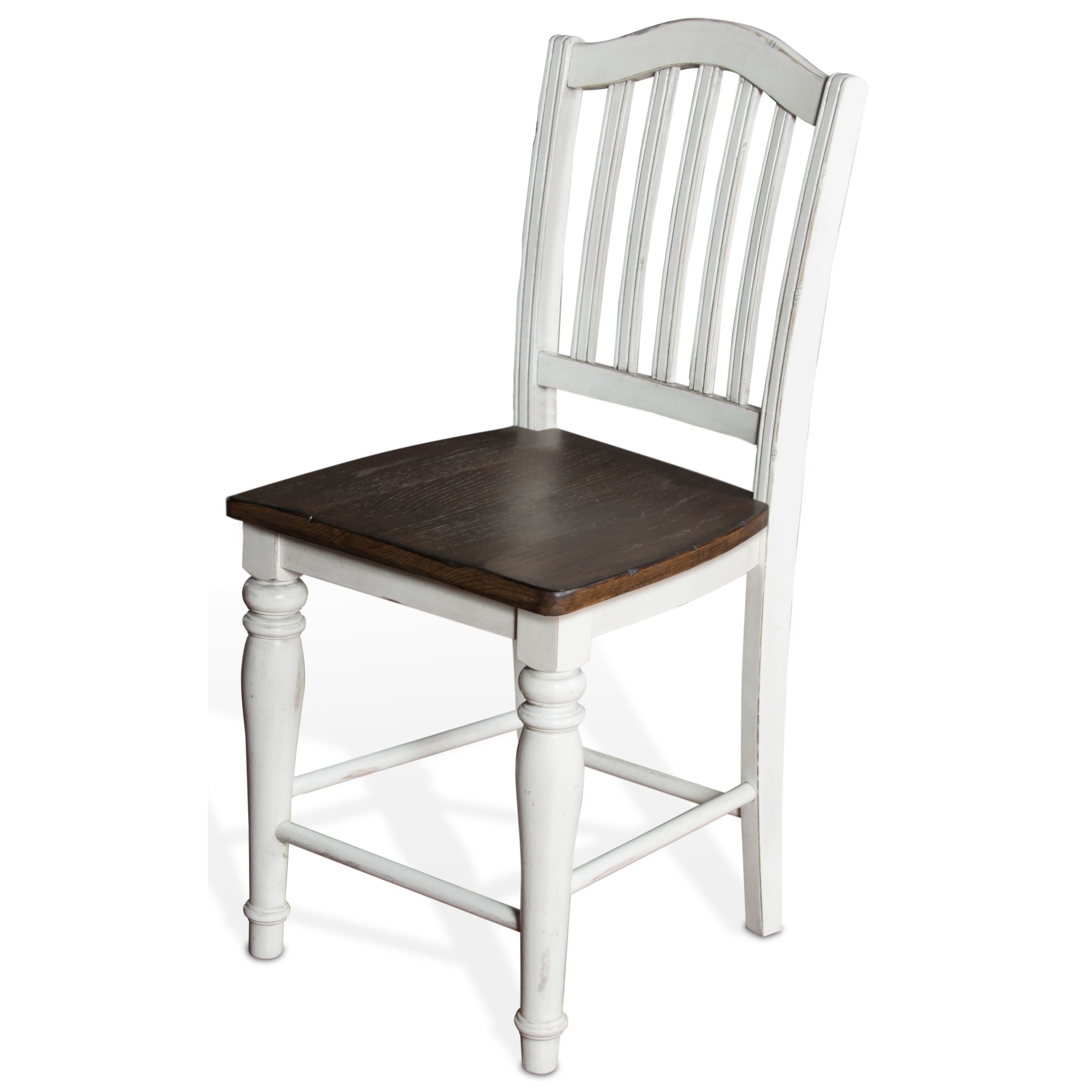 "24""H Slatback Stool w/ Wood Seat"