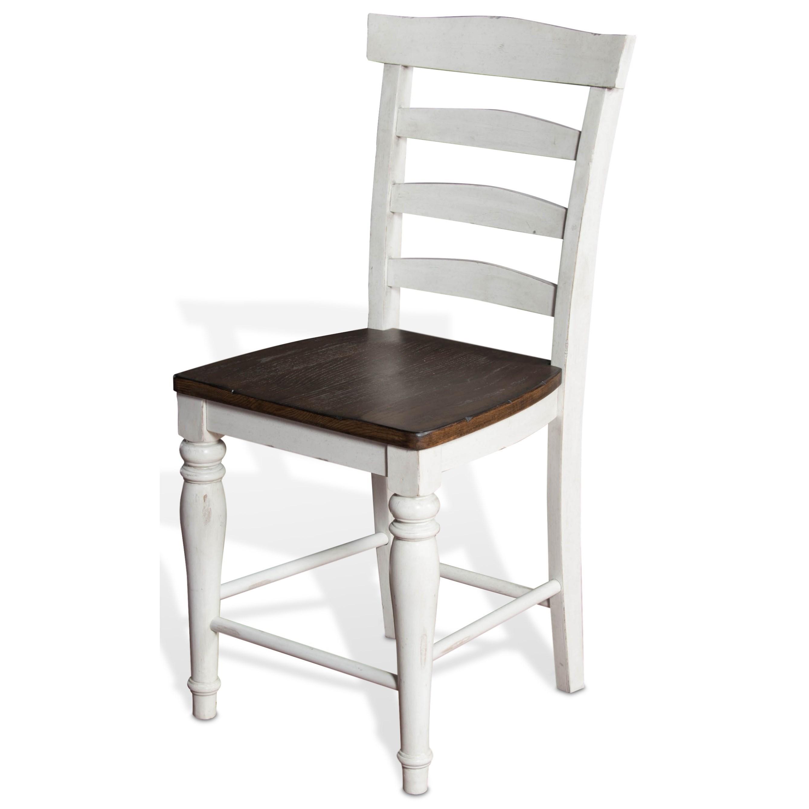 "24""H Ladderback Barstool w/ Wood Seat"