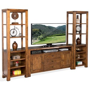 Sunny Designs Carey Live Edge Media Stand & 2 Piers