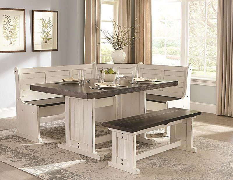 Carriage House Breakfast Nook With 2 Long Benches by Sunny Designs at Darvin Furniture