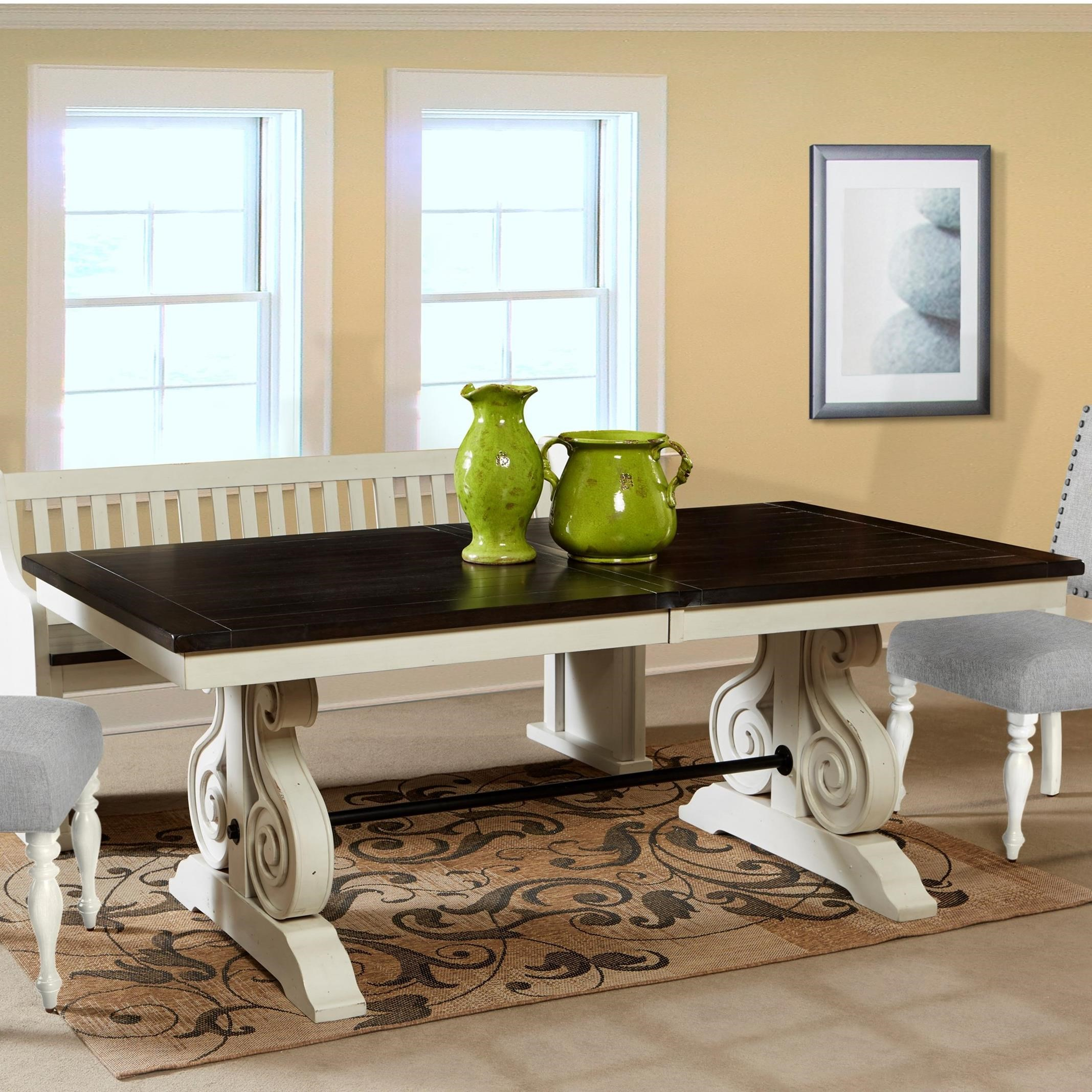 Sunny Designs Carriage House Cottage Trestle Table with ...