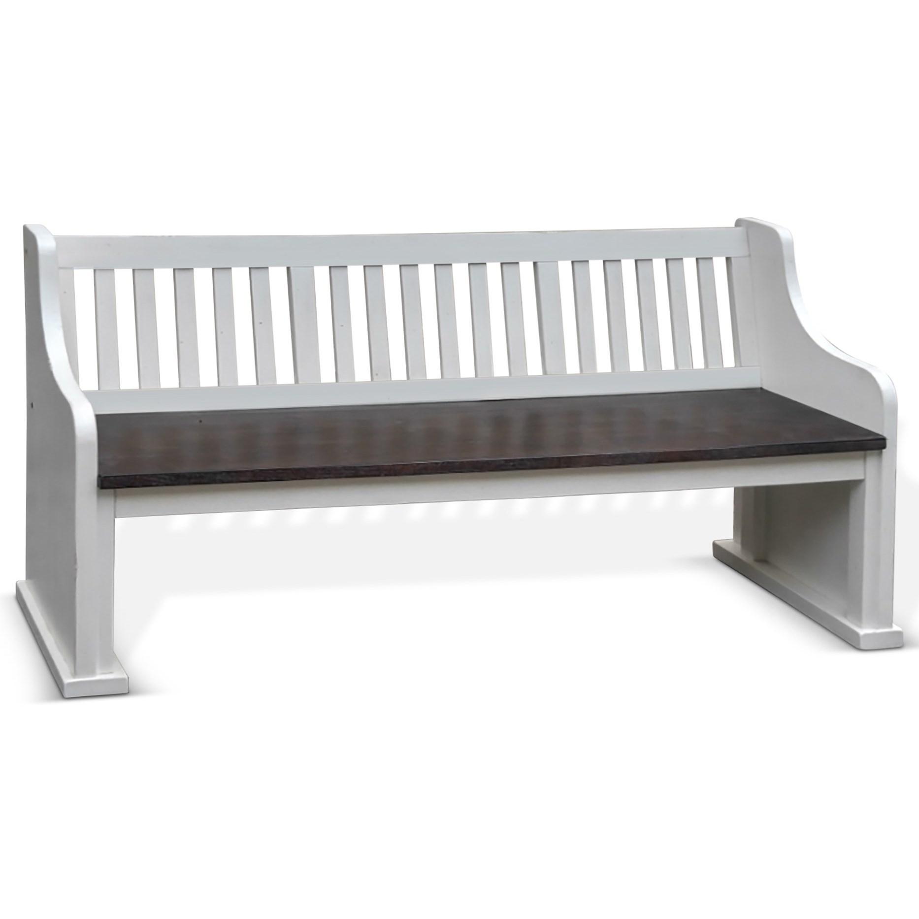 Bench w/ Back, Wood Seat