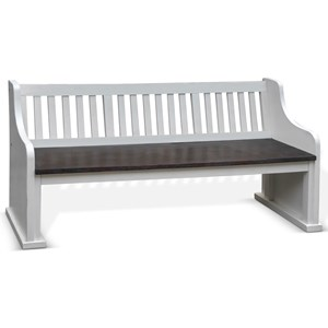 Bench w/ Back, Wood Seat