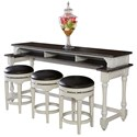 Sunny Designs Carriage House Counter Height Console Table + Bar Stools - Item Number: 2048EC-CT+3X2048EC-S