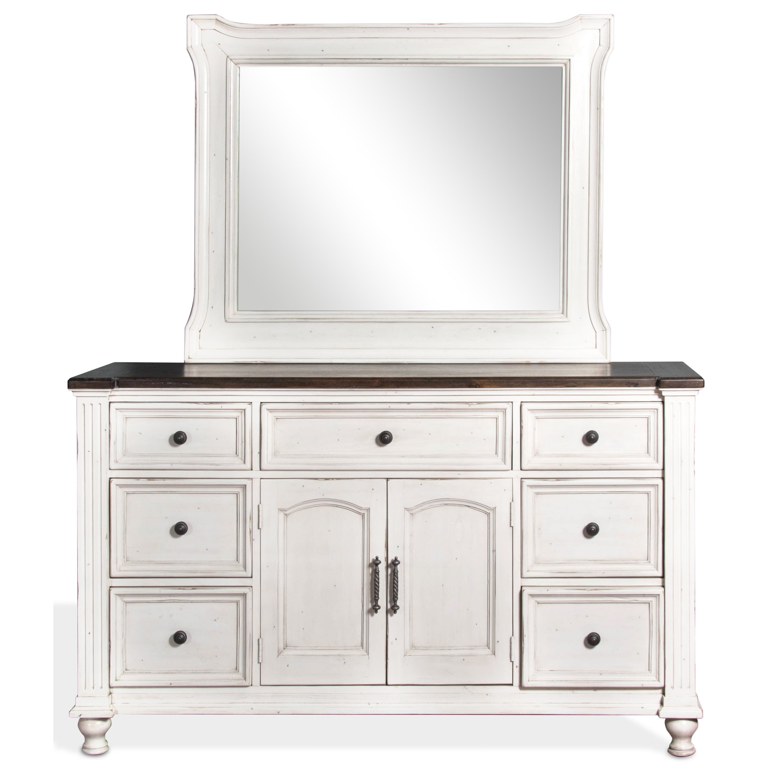 Sunny Designs Carriage House Dresser and Mirror Combo - Item Number: 2308EC-D+M