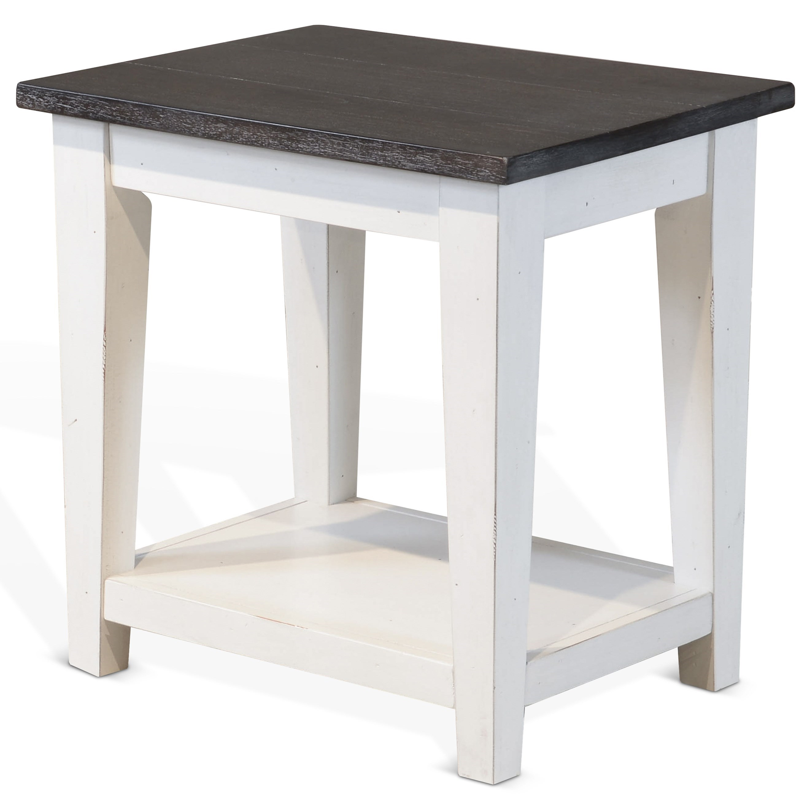 Carriage House Cottage Two Tone Chair Side Table With Shelf By Sunny Designs