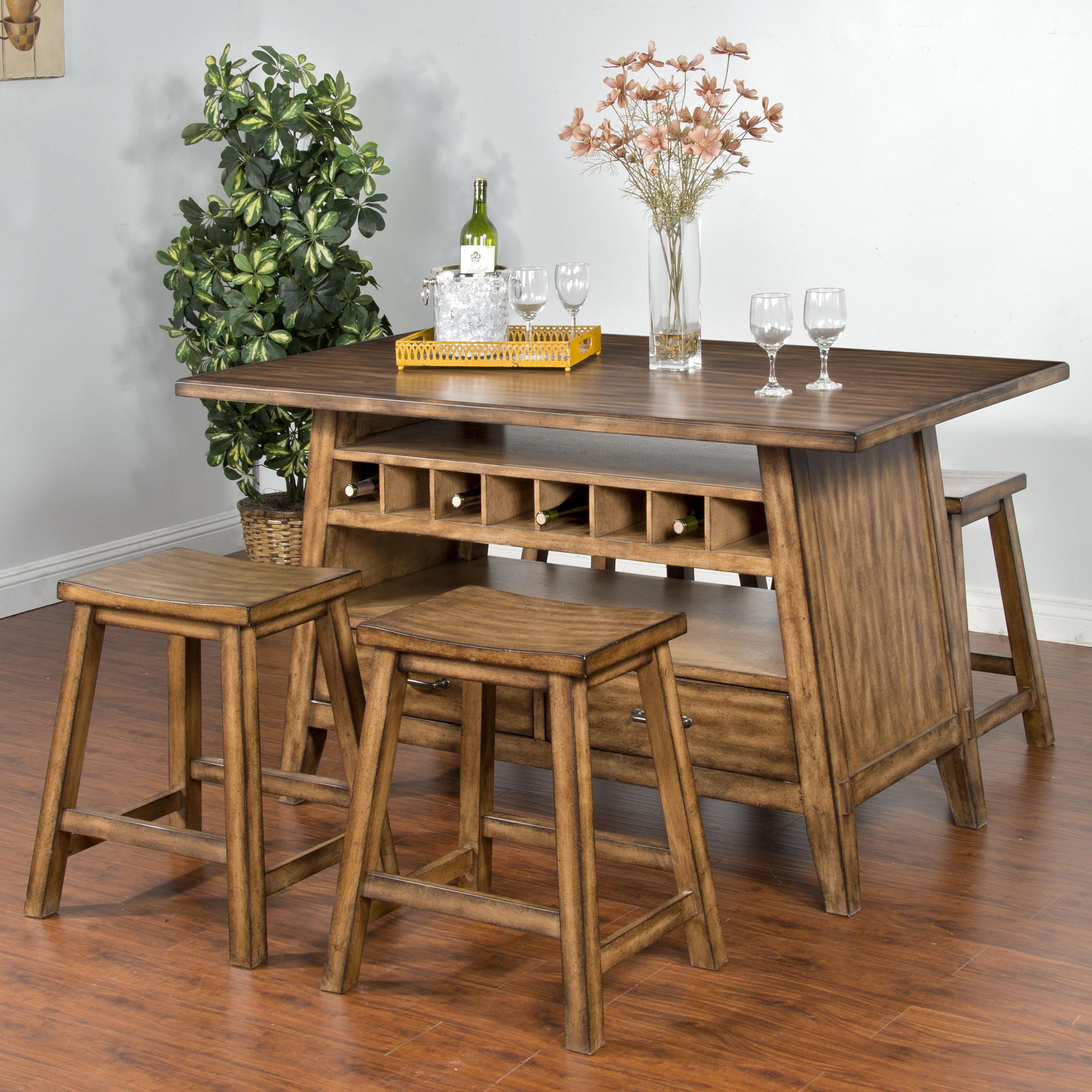 Sunny Designs Cornerstone 5-Piece Table with Storage Set - Item Number: 1398BM+4x1526BM-24