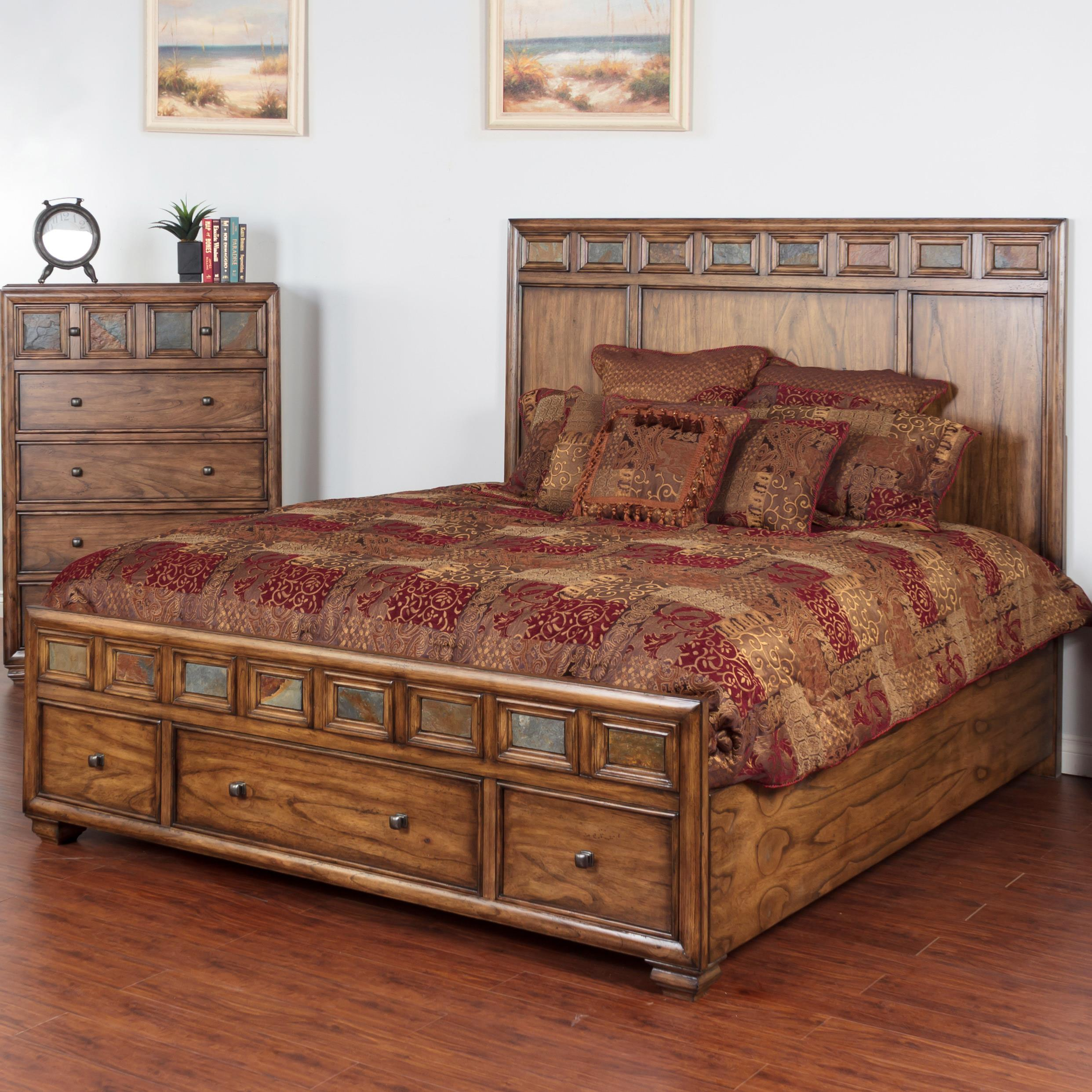 Sunny Designs Coventry Queen Bed with Storage & Slate Tiles - Item Number: 2378BM-Q