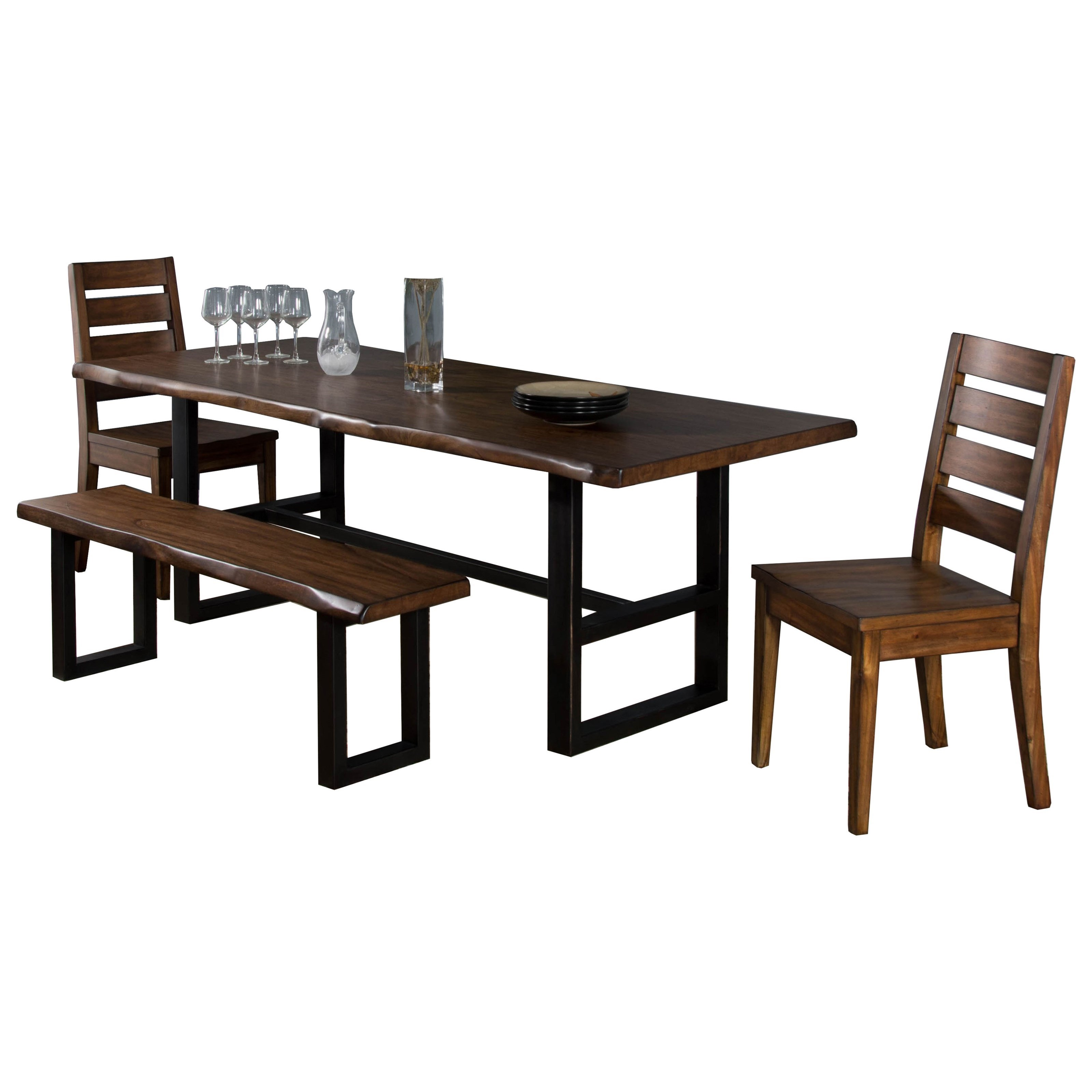 Sunny Designs Cresent Hill 4-Piece Live Edge Table Set with Bench - Item Number: 1031NM+2x1512+1441