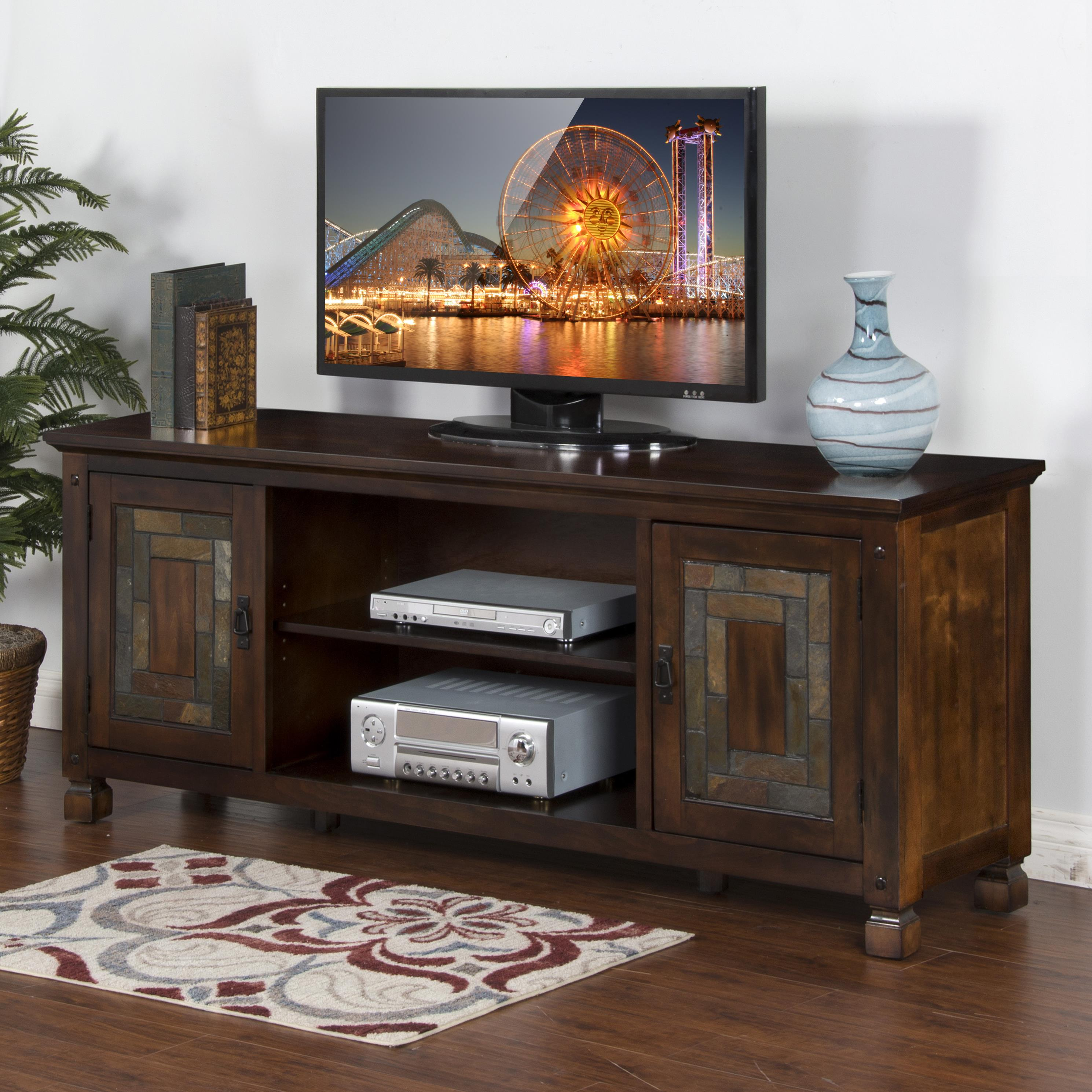 "Sunny Designs Dark Hazelnut 74"" TV Console w/ Slate - Item Number: 3537DH-74"