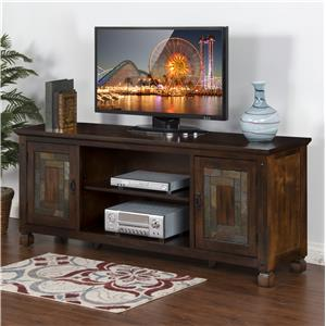 "Sunny Designs Dark Hazelnut 74"" TV Console w/ Slate"