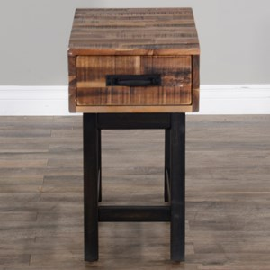 Chair Side Table (Wood Base)