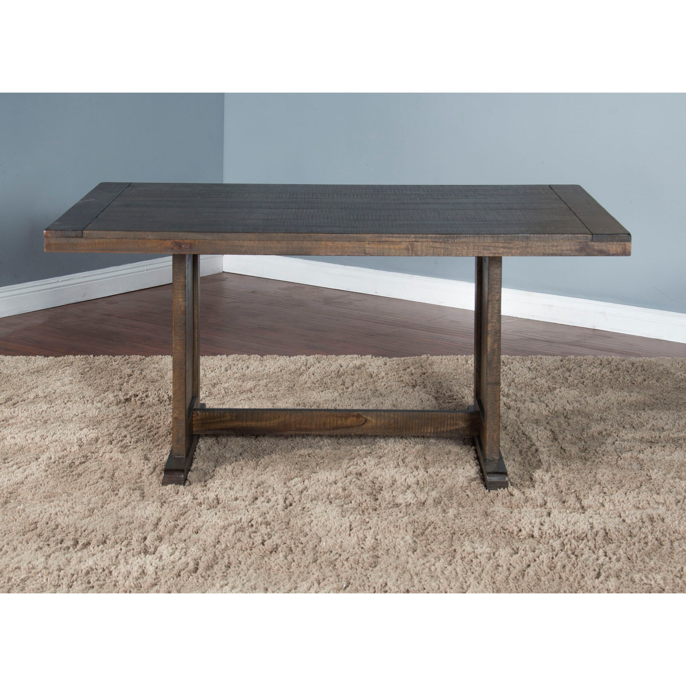 Sunny Designs Homestead Rustic Style Table with Trestle ...